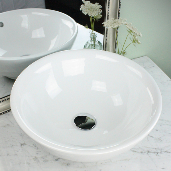 Highpoint Collection 17 Inch Round White Vessel Sink with Drain Combo - 17' Round Vessel Sink in White w Umbrella drain