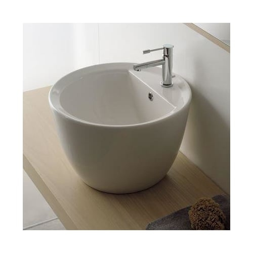 Nameeks 8055/R Scarabeo 18-1/8' Ceramic Vessel Bathroom Sink with 1 Hole Drilled - Includes Overflow