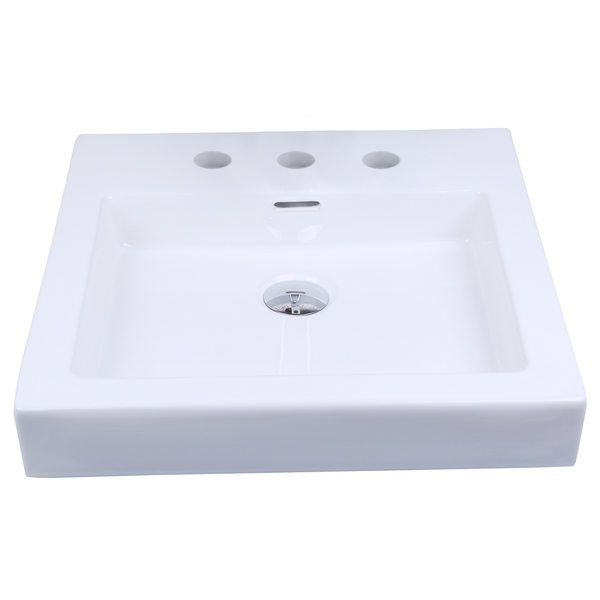 19-in. W x 17.5-in. D Above Counter Rectangle Vessel In White Color For 8-in. o.c. Faucet - White