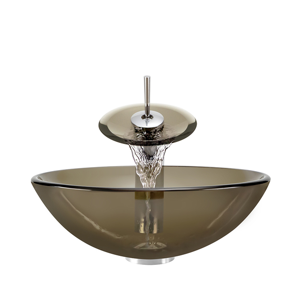 Polaris Sinks P736 Bronze Foil/ Brushed Nickel Vessel Sink and Faucet - Glass Ensemble