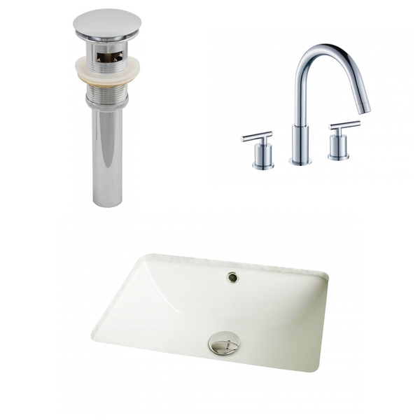 18.25-in. W x 13.5-in. D CUPC Rectangle Undermount Sink Set In Biscuit With 8-in. o.c. CUPC Faucet And Drain - Biscuit