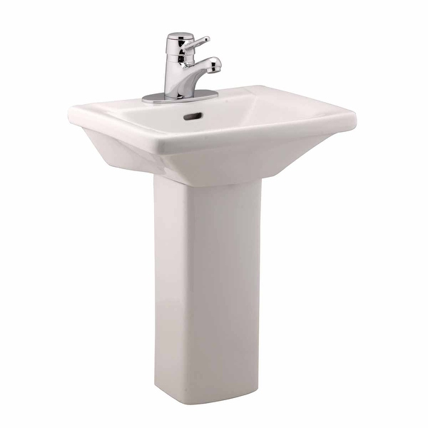 Children's White Pedestal Sink Vitreous China WeeWash 4 Centerset Open Back - Renovator's Supply