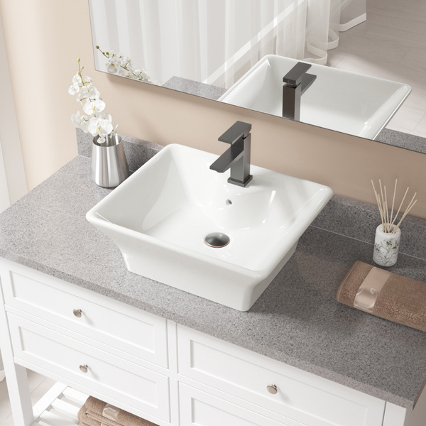 MR Direct V150-Bisque Porcelain Sink with Antique Bronze Faucet and Pop-Up Drain