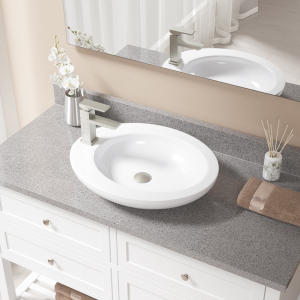 MR Direct V3202 White Porcelain Sink with Brushed Nickel Faucet and Popup Drain
