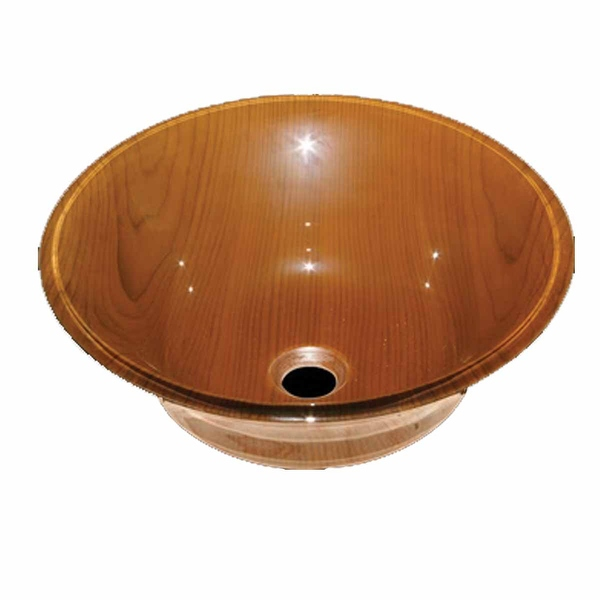 Tempered Glass Vessel Sink with Drain, Wood Grain Double Layer Barrel Bowl Sink - Renovator's Supply
