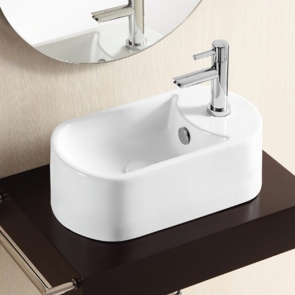 Caracalla CA4800-One Hole Oval White Ceramic Vessel Bathroom Sink - 5 - 11 Inch
