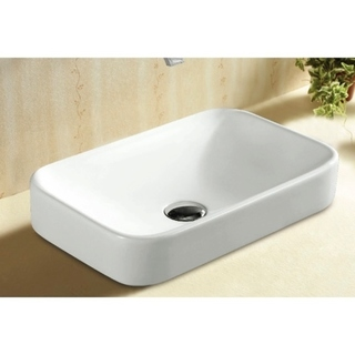 Caracalla CA4120A-No Hole Rectangular White Ceramic Self riming Bathroom Sink - 12 - 17 Inch