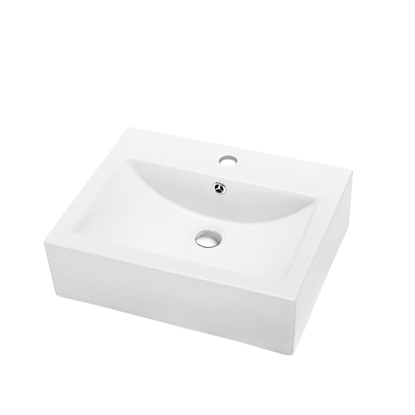 Dawn Vessel Above-Counter Rectangle Ceramic Art Basin with Single Hole for Faucet and Overflow - White, Square