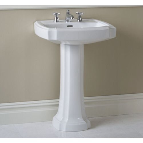 Toto LPT9708 Guinevere 27-1/8' Pedestal Bathroom Sink with 3 Faucet Holes Drilled and Overflow - Pedestal Included - cotton