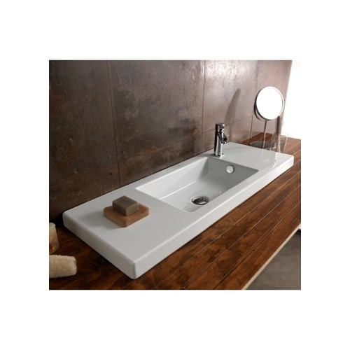 Nameeks 3502011 Tecla 39-3/8' Ceramic Wall Mounted / Drop In Bathroom Sink with 0 / 1 Faucet Holes and Overflow