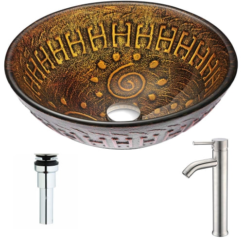 Anzzi LSAZ050-040 Opus Brass and Glass Deck Mounted or Vessel Bathroom Sink with