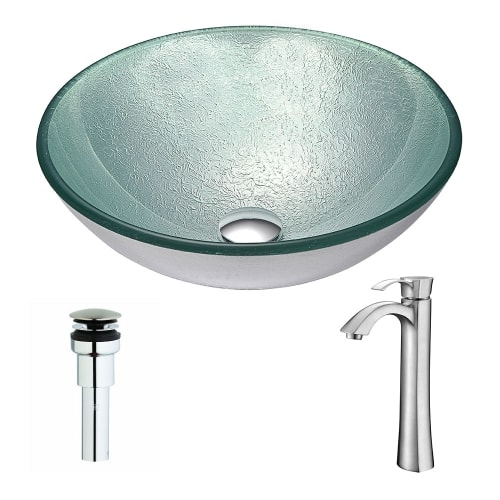 Anzzi LSAZ055-095 Spirito Brass and Glass Deck Mounted or Vessel Bathroom Sink w