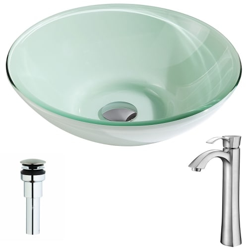 Anzzi LSAZ083-095 Sonata Brass and Glass Deck Mounted or Vessel Bathroom Sink wi
