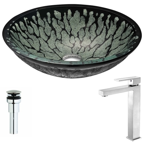 Anzzi LSAZ043-096 Bravo Brass and Glass Deck Mounted or Vessel Bathroom Sink wit