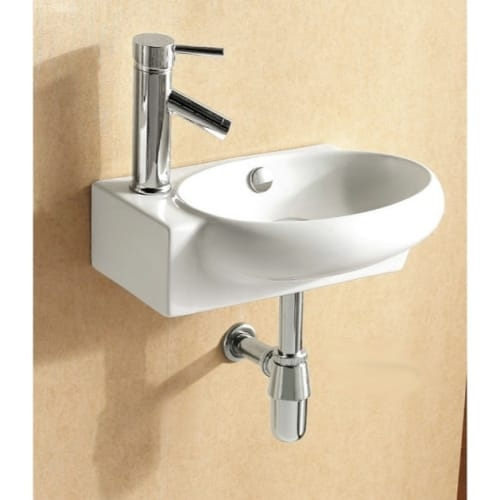 Nameeks CA4522 Caracalla 17-1/2' Ceramic Wall Mounted Bathroom Sink with 1 Faucet Hole and Overflow
