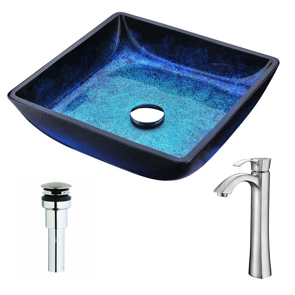 ANZZI Viace Series Blazing Blue Deco-Glass Vessel Sink with Harmony Brushed Nickel Faucet - Blazing Blue Finish
