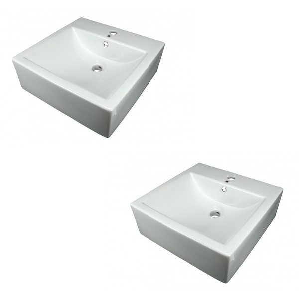 Bathroom Vessel Sink White China Bostonian Square Set of 2