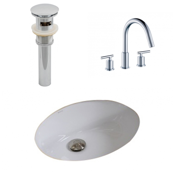19.5-in. W x 16.25-in. D CUPC Oval Undermount Sink Set In White With 8-in. o.c. CUPC Faucet And Drain - White