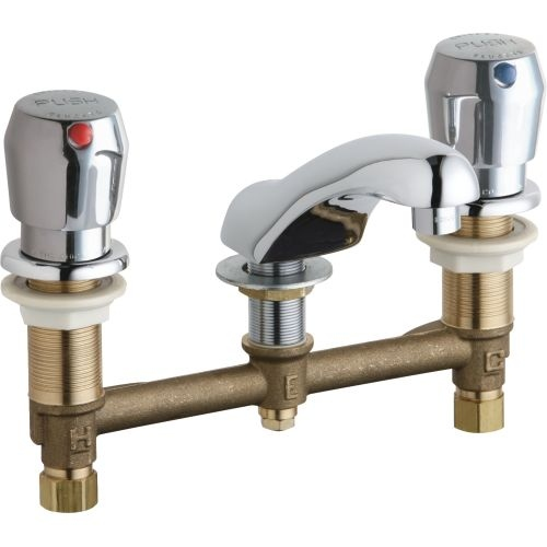 Chicago Faucets 404-V665AB Widespread Bathroom Faucet with 8' Faucet Centers and Push Button Handles