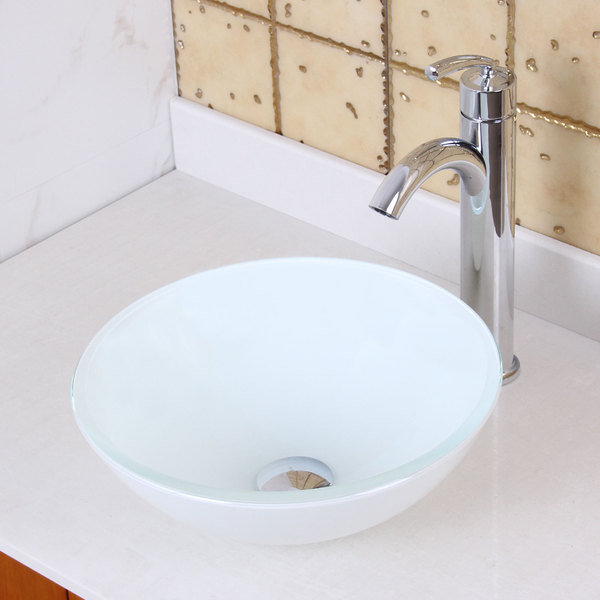 Elite Tempered Glass White Vessel Sink and Faucet