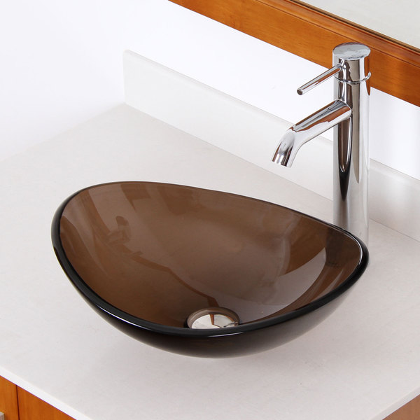 Elite 1417+F371023 Unique Oval Transparent Brown Tempered Glass Bathroom Vessel Sink With Faucet Combo