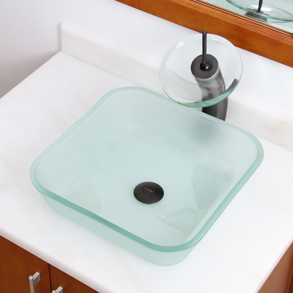 Frosted Square Tempered Glass Bathroom Vessel Sink - Glass Sink