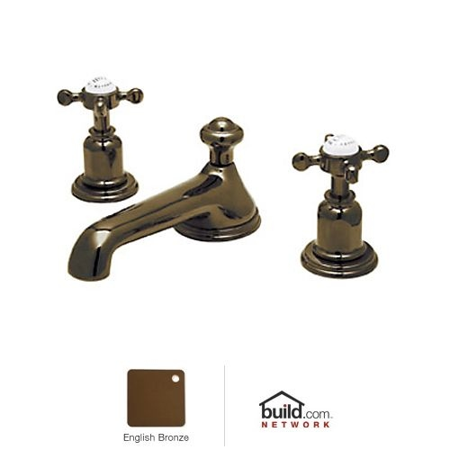 Rohl U.3731X-2 Perrin and Rowe Widespread Bathroom Faucet with Metal Cross Handles and Pop-Up Drain - Nickel Finish