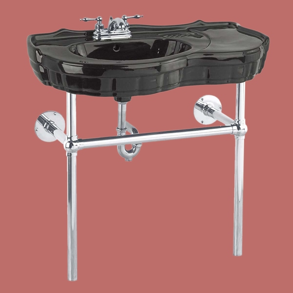 Console Sink Southern Belle Black China Bistro Wall Mount| Renovator's Supply - Renovator's Supply