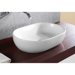 Caracalla CA4916-No Hole Round White Ceramic Vessel Bathroom Sink - 12 - 17 Inch