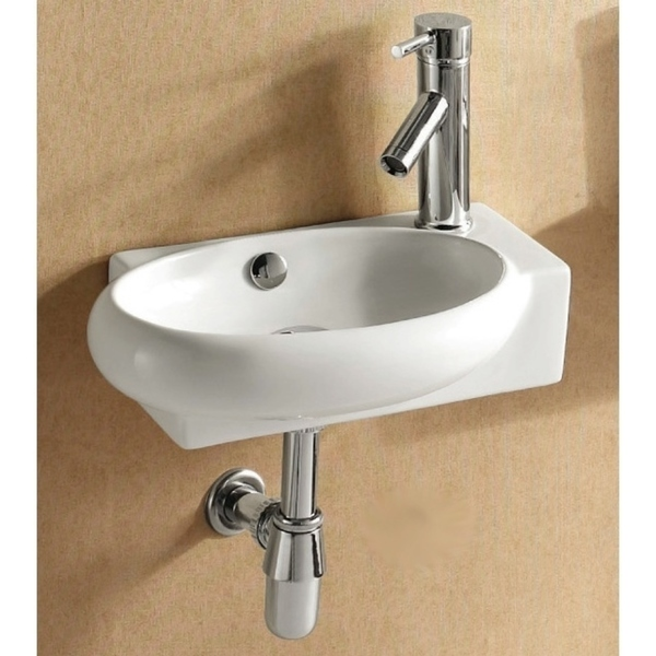 Caracalla CA4522B-One Hole Round White Ceramic Wall Mounted or Vessel Bathroom Sink - 5 - 11 Inch