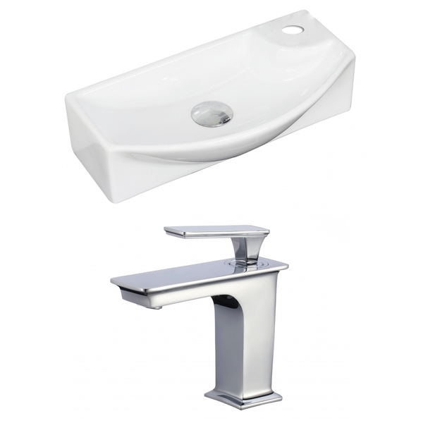 18-in. W x 9-in. D Rectangle Vessel Set In White Color With Single Hole CUPC Faucet - White