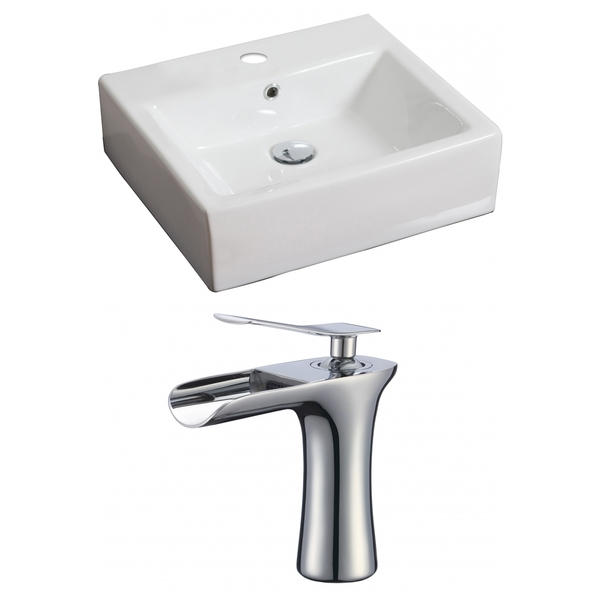 20-in. W x 18-in. D Rectangle Vessel Set In White Color With Single Hole CUPC Faucet - White