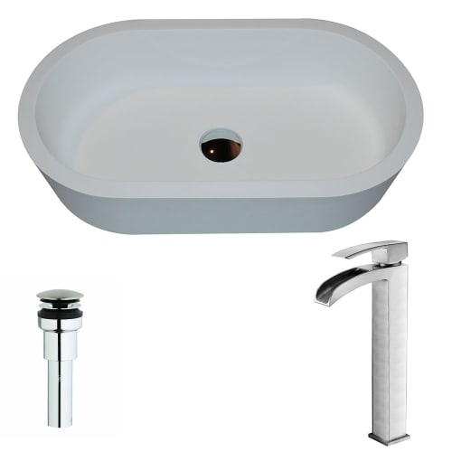 Anzzi LSAZ607-097 Vaine Brass and Stone Deck Mounted or Vessel Bathroom Sink wit - white matte / brushed nickel