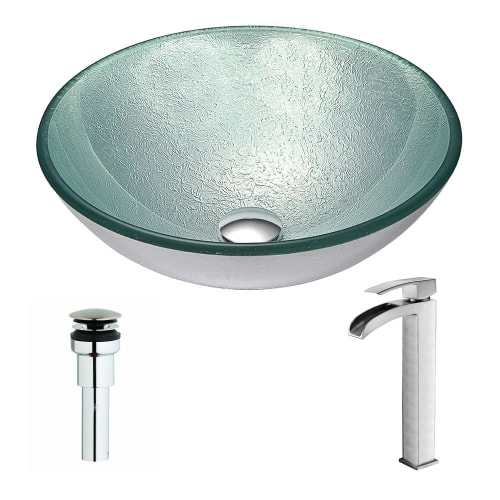 Anzzi LSAZ055-097 Spirito Brass and Glass Deck Mounted or Vessel Bathroom Sink w - churning silver / brushed nickel - Single hole