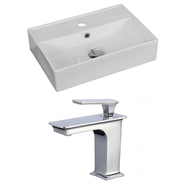 20-in. W x 14-in. D Rectangle Vessel Set In White Color With Single Hole CUPC Faucet - White