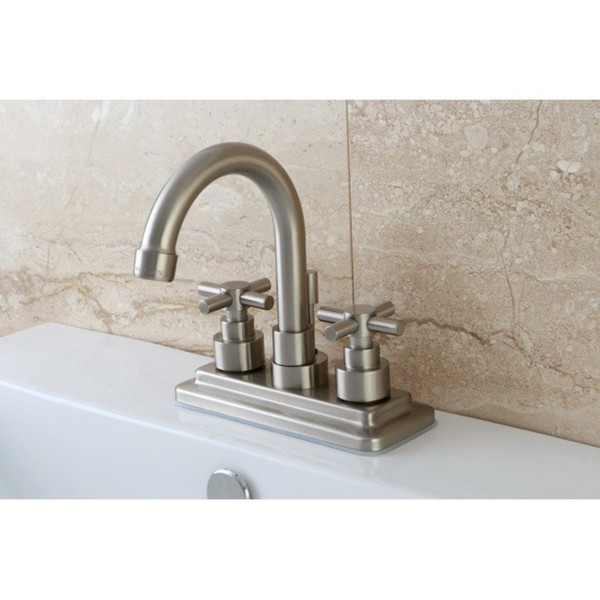 Elinvar Satin Nickel Twin Cross Handle Bathroom Faucet - Cross Handles