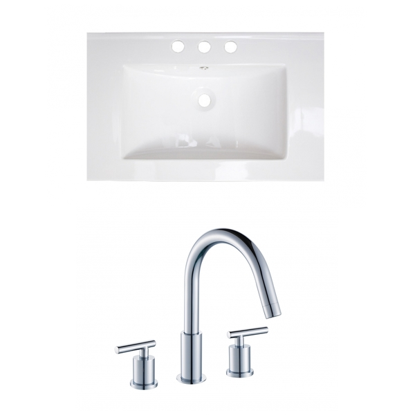 24-in. W x 18-in. D Ceramic Top Set In White Color With 8-in. o.c. CUPC Faucet - White