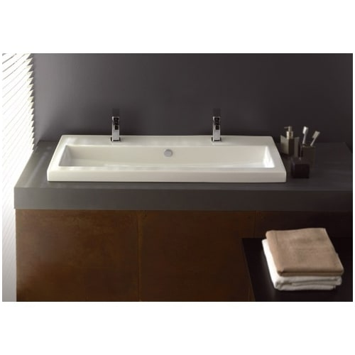 Nameeks 4004011B Serie 40 39-2/5' Ceramic Drop in Bathroom Sink with 0, 1 Faucet Holes Drilled - Includes Overflow