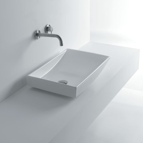 WS Bath Collections Om out 60 23-7/8' Ceramic Vessel Bathroom Sink Whitestone Collection