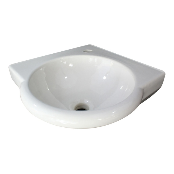 ALFI brand AB104 White 15' Round Corner Wall Mounted Porcelain Bathroom Sink