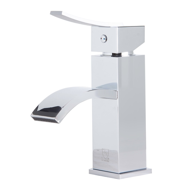 ALFI brand AB1258-PC Polished Chrome Square Body Curved Spout Single Lever Bathroom Faucet