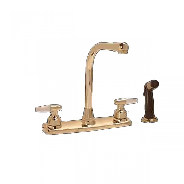 Widespread Kitchen Faucet Brass High Neck 2 Handles Sprayer | Renovator's Supply - Renovator's Supply