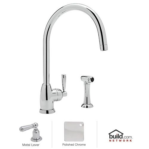 Rohl U.4846LS-2 Mimas Kitchen Faucet with Side Spray and Metal Lever Handle - Polished Nickel
