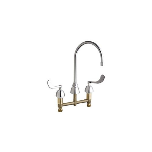 Chicago Faucets 201-AGN8AE36-317AB Commercial Grade High Arch Kitchen Faucet with Wrist Blade Handles - 8' Centers (Eco-Friendly