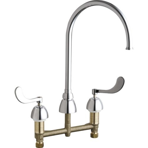 Chicago Faucets 786-GN8FCAB Commercial Grade High Arch Kitchen Faucet with Wrist Blade Handles - 8' Faucet Centers
