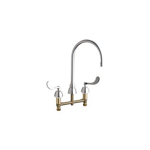 Chicago Faucets 786-GN8AE35AB Commercial Grade High Arch Kitchen Faucet with Wrist Blade Handles - 8' Faucet Centers