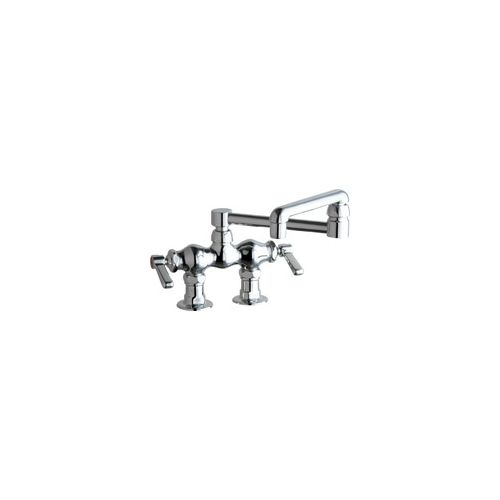 Chicago Faucets 772-DJ13AB Deck Mounted Pot Filler Faucet with Lever Handles and 13' Full-Flow Swing Spout