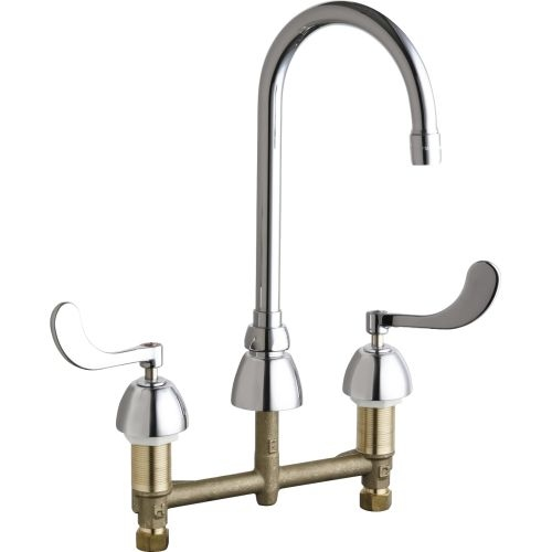 Chicago Faucets 786-E3XKAB Commercial Grade High Arch Kitchen Faucet with Wrist Blade Handles - 8' Faucet Centers
