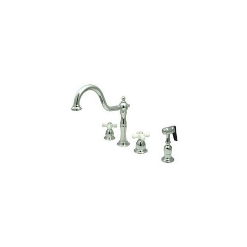 Elements Of Design EB1791PX Double Handle Kitchen Faucet with Porcelain Cross Handles and Sidespray from the New Orleans Series
