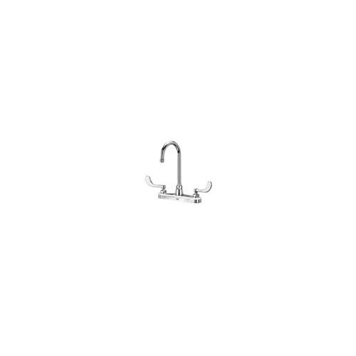 Zurn Z871B4-XL-4F Gooseneck Lead Free Double Handle Kitchen Faucet with 4' Metal Wrist Blades and 2.2 GPM Vandal-Resistant